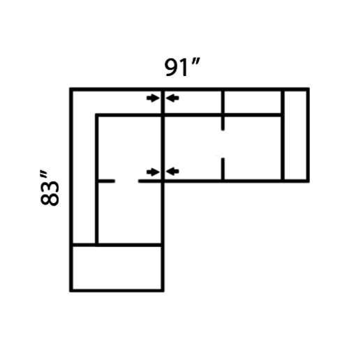 "Layout E:  Two Piece Sectional 83"" x 91"""