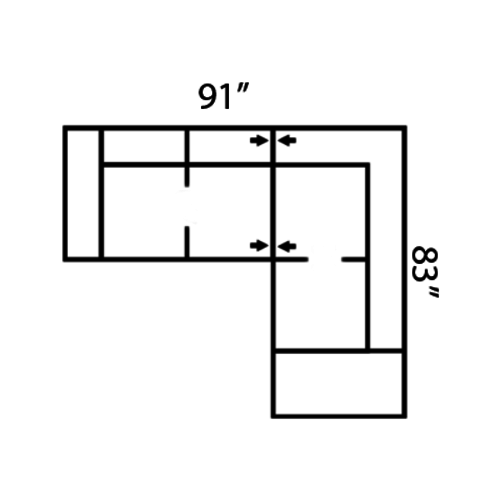 "Layout F: Two Piece Sectional 91"" x 83"""