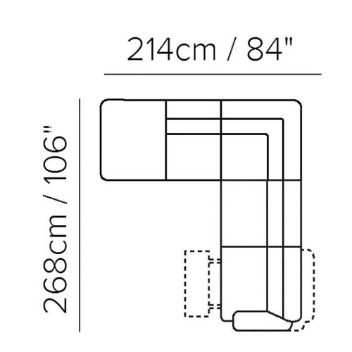 "Layout B:  Two Piece Reclining Sectional - 84"" x 106"""