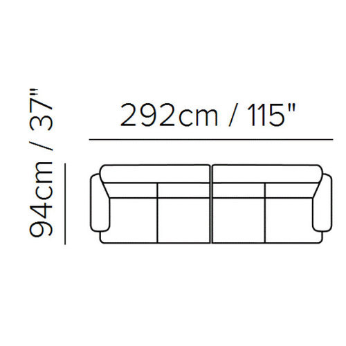 "Layout A: Two Piece Sectional - 37"" x 115"""
