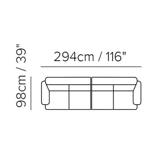 "Layout A: Two Piece Sectional 39"" x 116"""