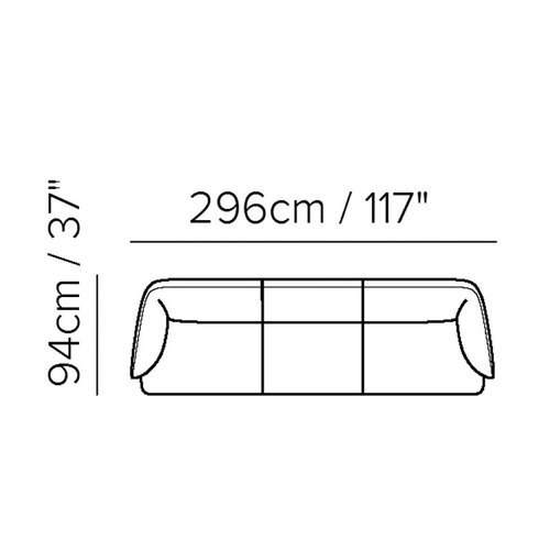 "Layout C: Three Piece Sectional - 117"" Long"