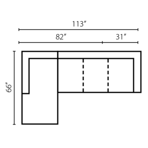 "Layout B: Two Piece Sectional 66"" x 113"""