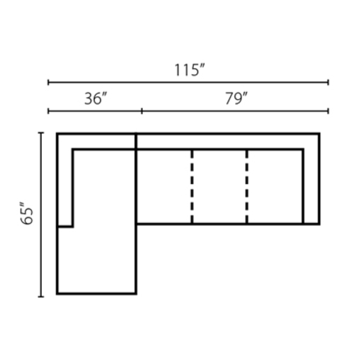 "Layout D:  Two Piece Sectional 65"" x 115"""
