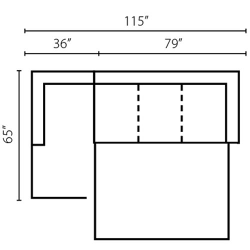 "Layout D:  Two Piece Sleeper Sectional 65"" x 115"""