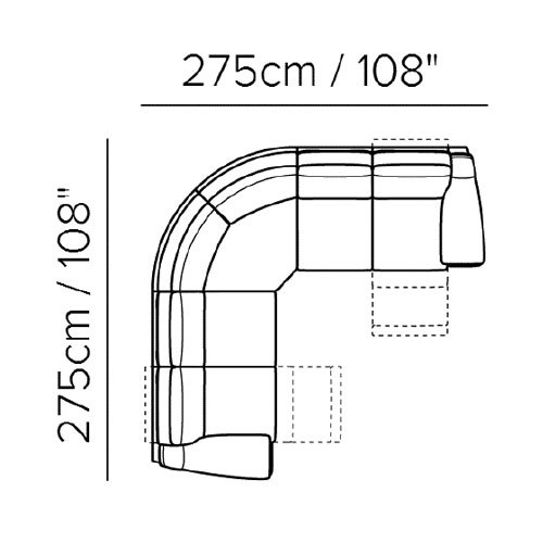 "Layout A: Three Piece Reclining Sectional - 108"" x 108"""