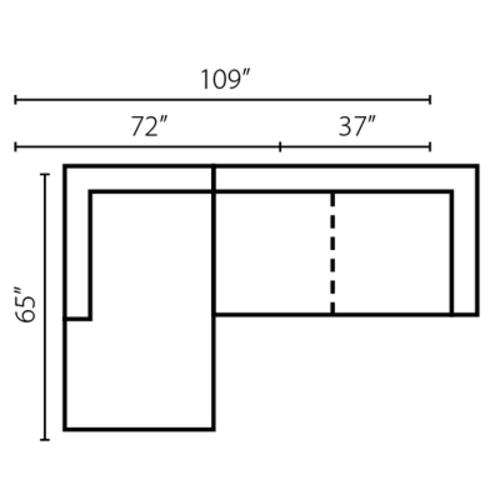 "Layout H:  Two Piece Sectional 65"" x 109"""
