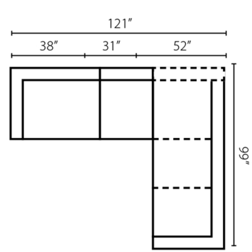 "Layout F:  Three Piece Sectional 99"" x 121"""