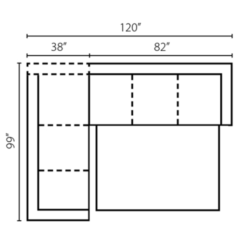 "Layout C: Two Piece Sleeper Sectional 99"" x 120"""