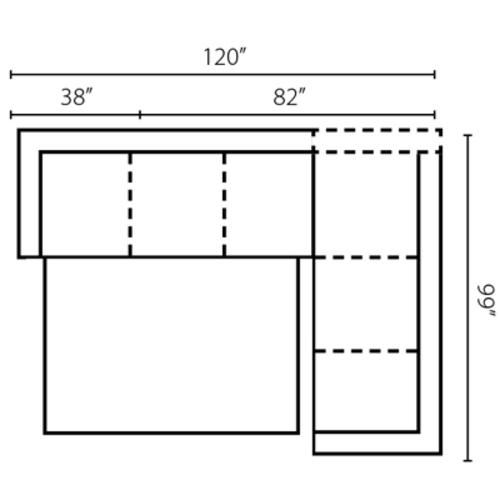 "Layout D: Two Piece Sleeper Sectional 120"" x 99"""