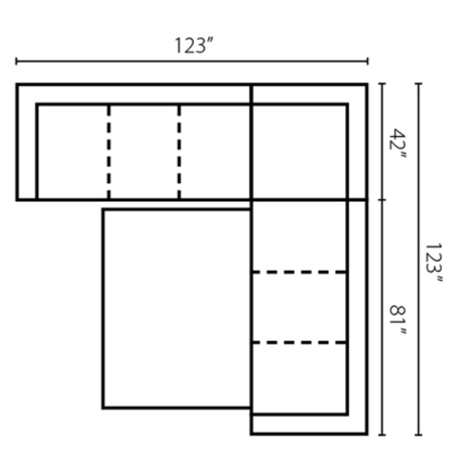 "Layout A: Three Piece Sleeper Sectional 123"" x 123"""