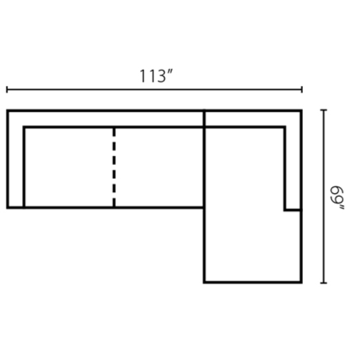 "Layout C:  Two Piece Sectional 113"" x 69"""