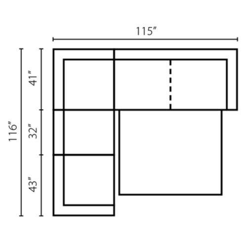 "Layout C: Three Piece Sleeper Sectional 116"" x 115"""