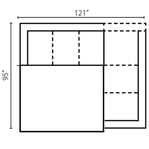 "Layout D:  Two Piece Sectional 121"" x 95"""