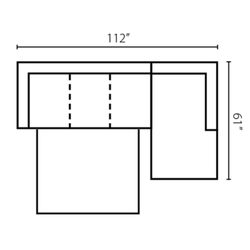 "Layout C:  Two Piece Sleeper Sectional 112"" x 61"""
