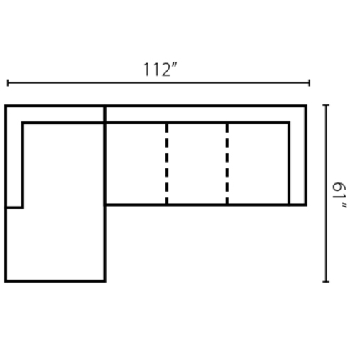 "Layout D: Two Piece Sectional 61"" x 112"""