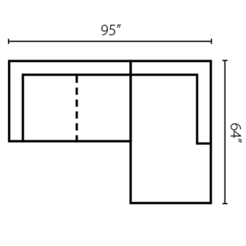 "Layout G: Two Piece Sectional 95"" x 64"""