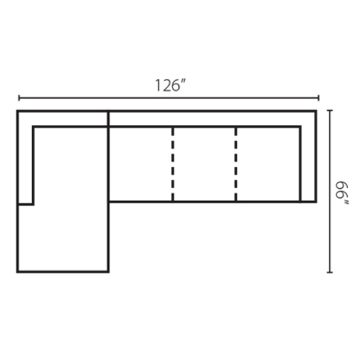 "Layout D: Two Piece Sectional 66"" x 126"""