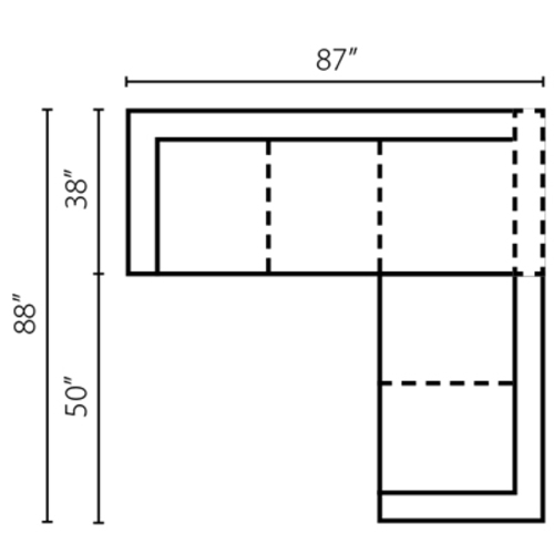 "Layout B:  Two Piece Sectional 87"" x 88"""
