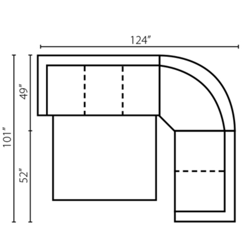 "Layout B: Three Piece Sleeper Sectional: 124"" x 101"""