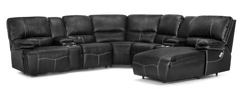 "Layout A: Four Piece Reclining Sectional (Power Chaise Right Side) 106"" x 115"" x 71"""