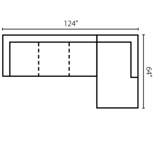 "Layout I: Two Piece Sectional 124"" x 64"""