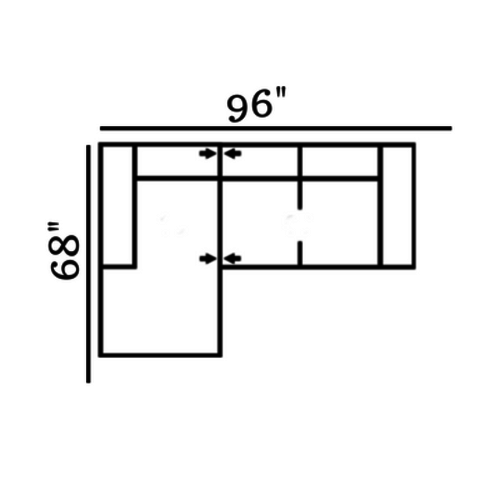 "Layout B: Two Piece Sectional 68"" x 96"""