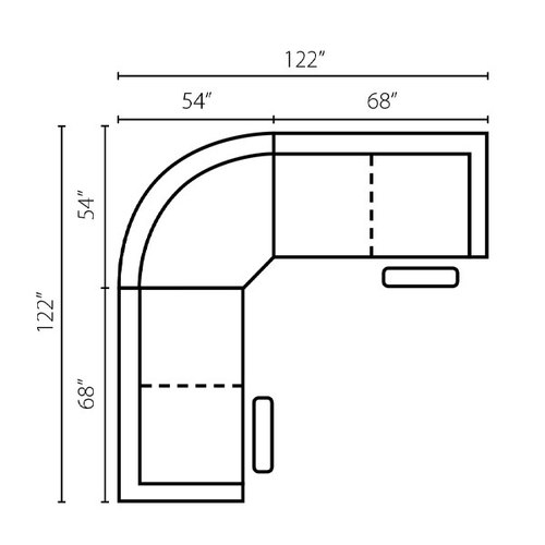 "Layout C: Three Piece Reclining Sectional 122"" x 122"""