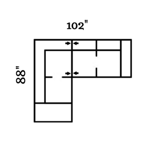 "Layout C:  Two Piece Sectional 88"" x 102"""
