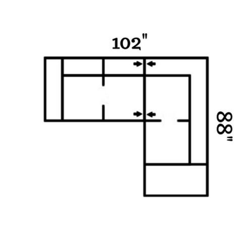 "Layout C:  Two Piece Sectional 102"" x 88"""
