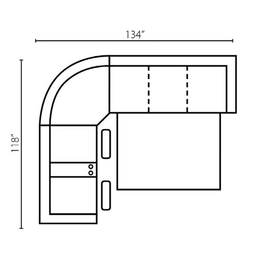 "Layout F:  Three Piece Sleeper Sectional 118"" x 134"""