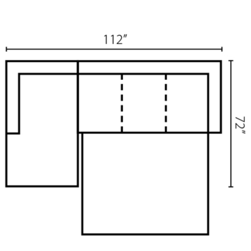 "Layout B: Two Piece Sleeper Sectional 72"" x 112"""