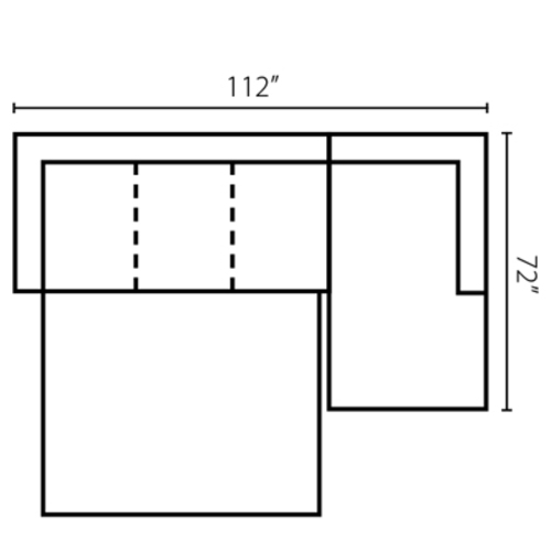 "Layout A:  Two Piece Sleeper Sectional 112"" x 72"""
