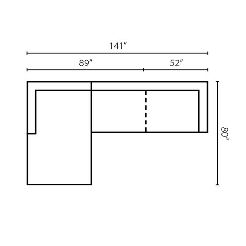 "Layout F: Two Piece Sectional 80"" x 141"""