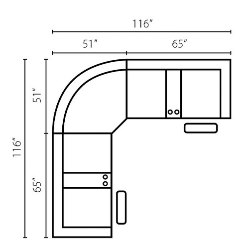 "Layout A: Three Piece Sectional 116"" x 116"""