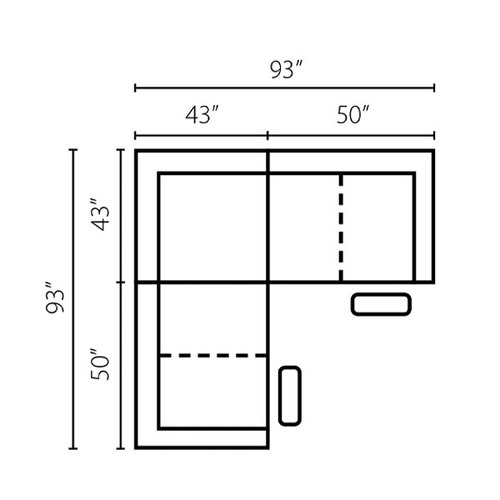 "Layout F:  Three Piece Sectional 93"" x 93"""