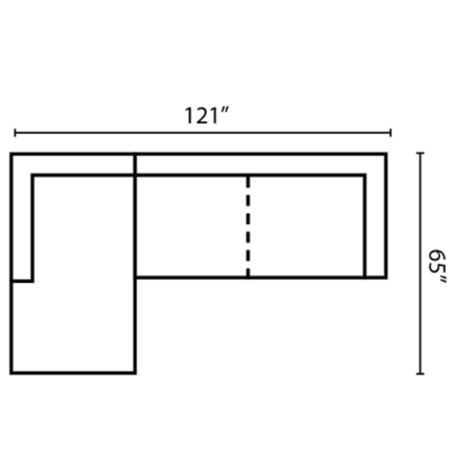 "Layout J:  Two Piece Sectional 65"" x 121"""