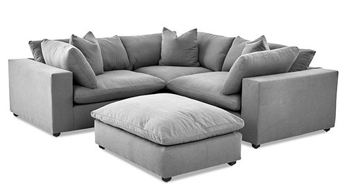 "Layout F:  Four Piece Sectional (Includes Ottoman) 95"" x 95"""