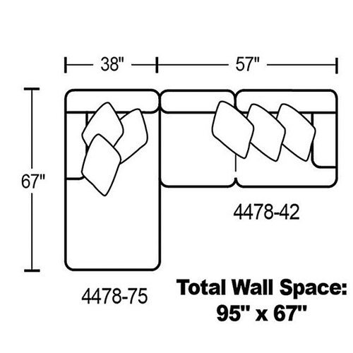 "Layout A: Two Piece Sectional 67"" x 95"""