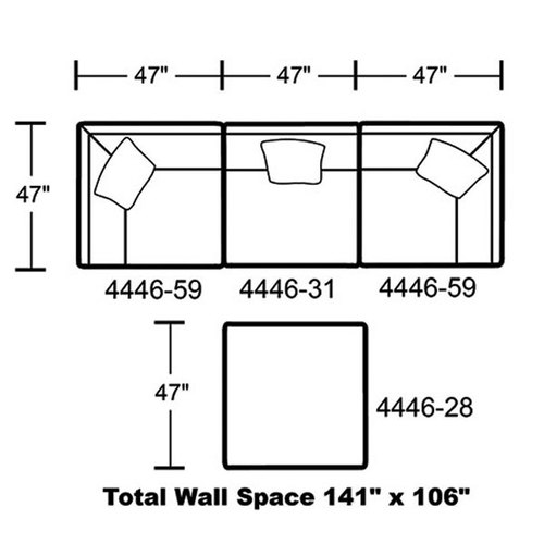 "Layout G: Four Piece Sectional 47"" x 106"""
