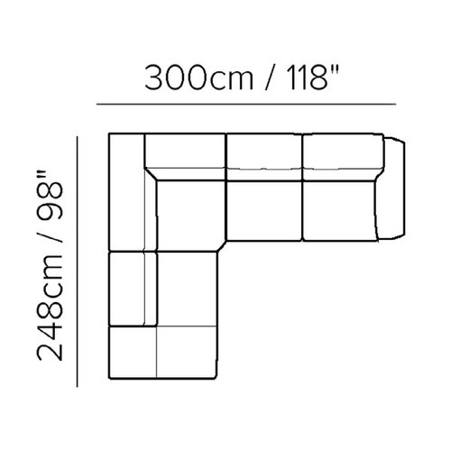 "Layout A: Three Piece Sectional 98"" x 118"""