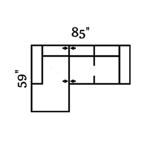 "Layout A: Two Piece Sectional 59"" x 85"""