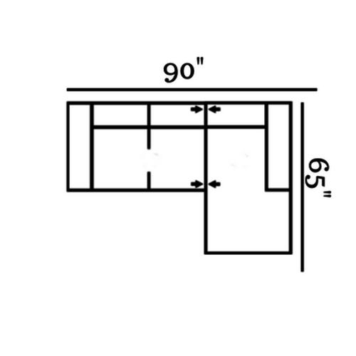 "Layout B:  Two Piece Sectional 90"" x 65"""