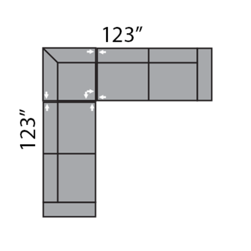 "Layout A: Two Piece Sectional 123"" x 123"""