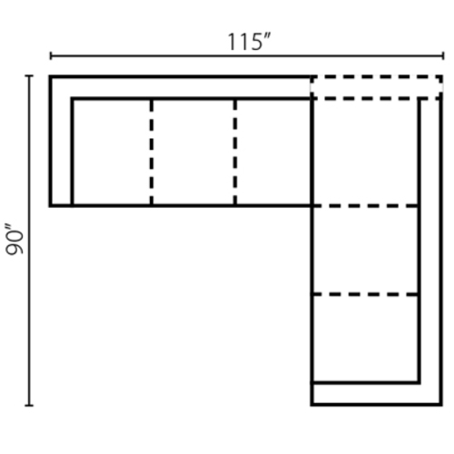 "Layout F: Two Piece Sectional 115"" x 90"""
