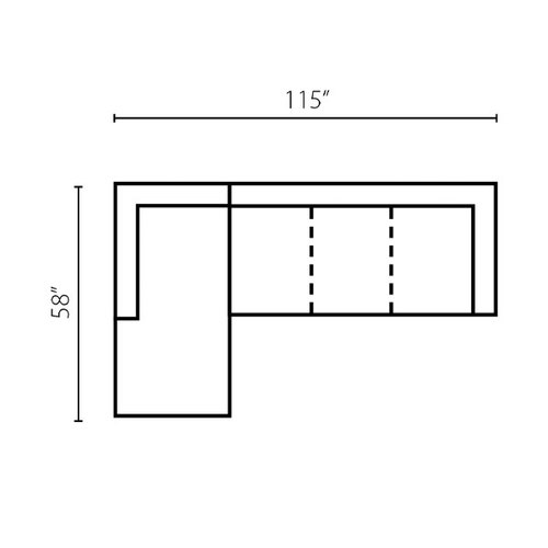 "Layout D: Two Piece Sectional 58"" x 115"""