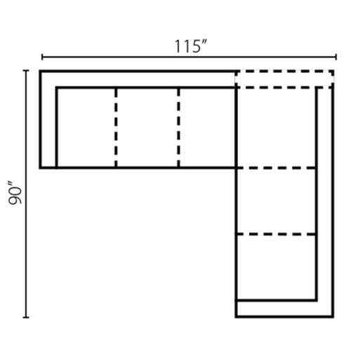 "Layout H: Two Piece Sectional 115"" x 90"""