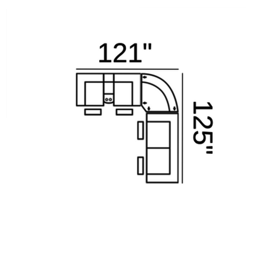 "Layout A: Three Piece Sectional 121"" x 125"""