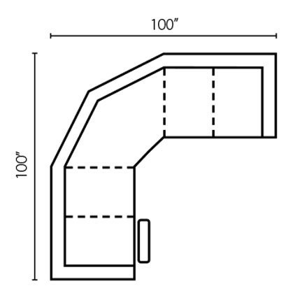 "Layout E: Two Piece Sectional 100"" x 100"""