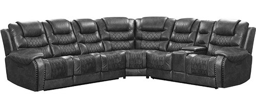 "Layout B: Seven Piece Reclining Sectional 133"" x 120"" x 43"""